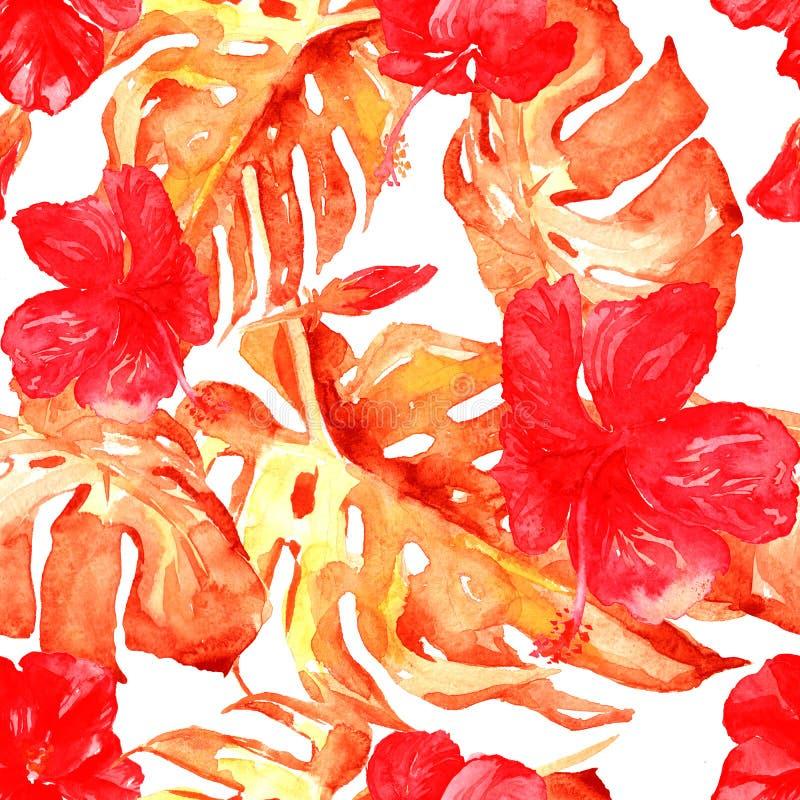 水彩无缝的样式 热带叶子和花的手画例证 与木槿样式的热带夏天主题 向量例证