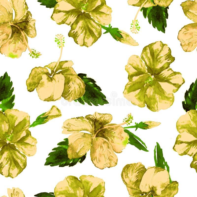水彩无缝的样式 热带叶子和花的手画例证 与木槿样式的热带夏天主题 库存例证