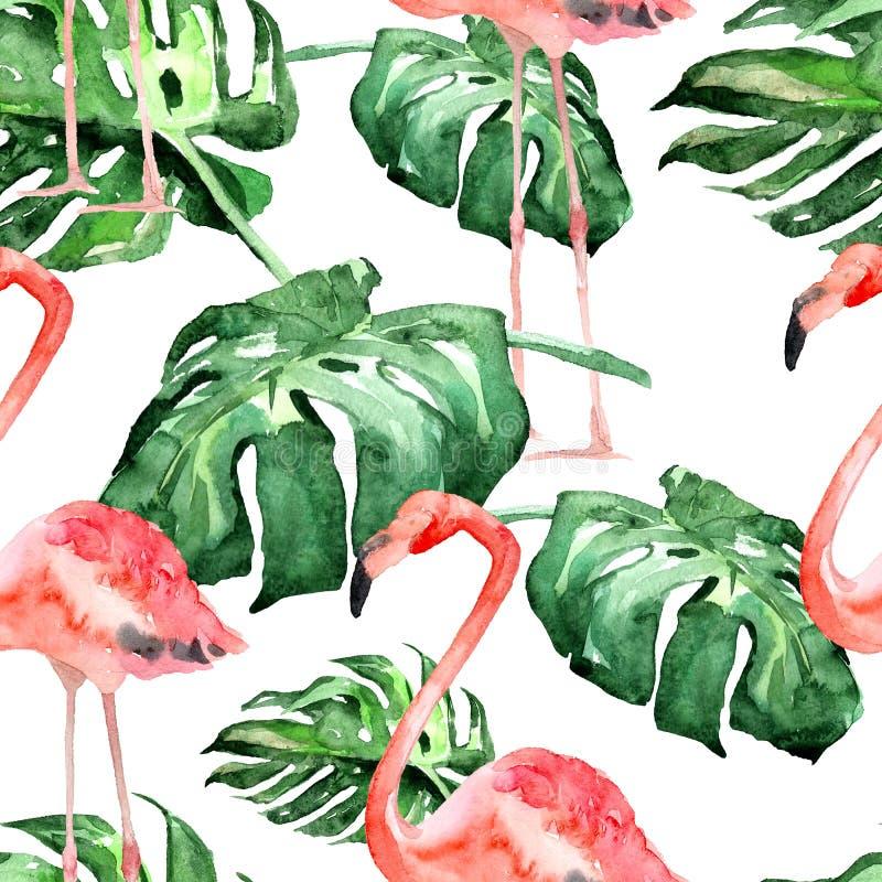 水彩无缝的样式 热带叶子和花的手画例证 与热带样式的热带夏天主题 皇族释放例证