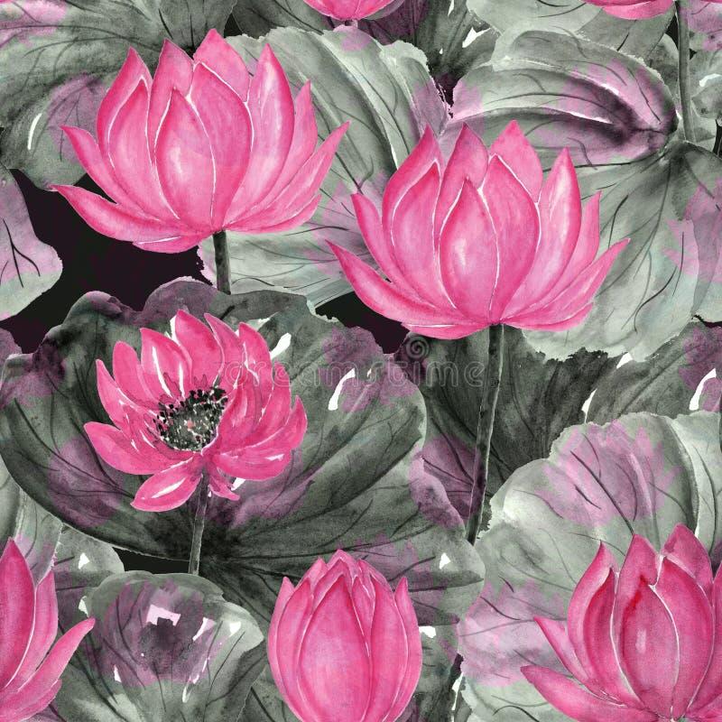 水彩无缝的热带花卉样式 桃红色花,灰色-绿色叶子 皇族释放例证