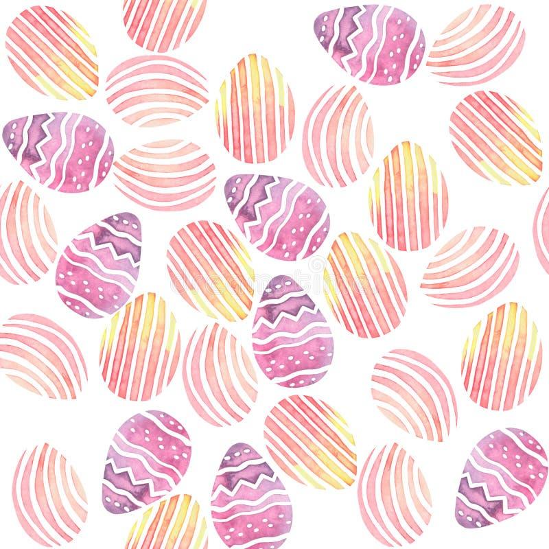 水彩无缝的背景用五颜六色的复活节彩蛋 库存例证