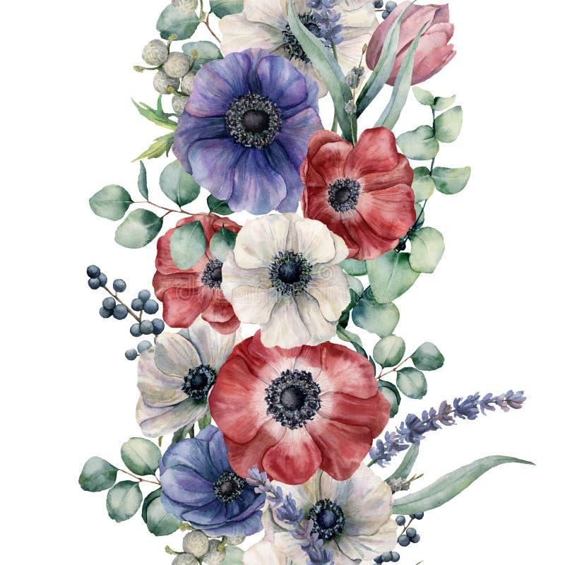 水彩无缝的花卉边界 与红色,白色和蓝色银莲花属的手画花束 玉树叶子和分支 库存例证