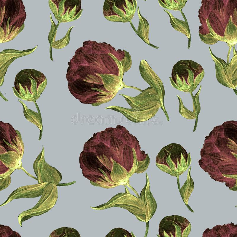 水彩无缝的花束 库存例证