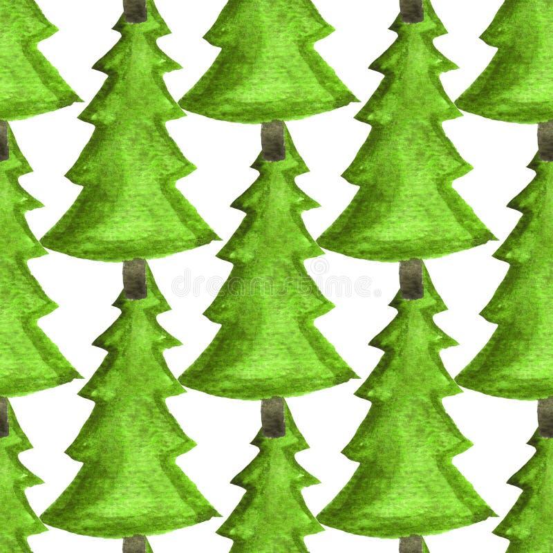 水彩无缝的装饰样式 圣诞节和新年印刷品的,卡片,海报,纺织品,包装纸欢乐设计 皇族释放例证
