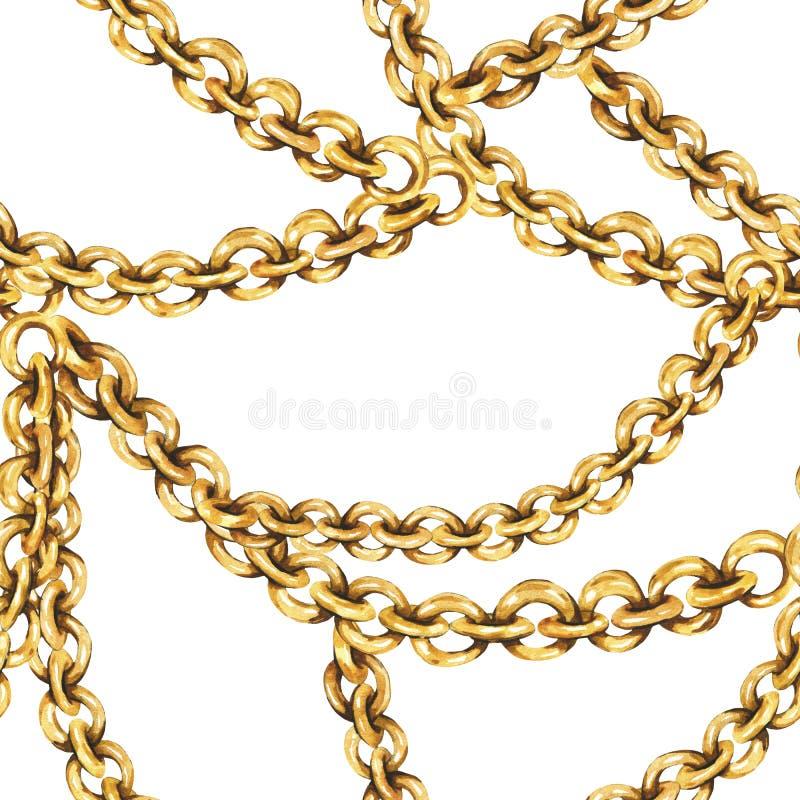 水彩时尚金戒指和链子无缝的样式,在白色背景的葡萄酒豪华元素 库存例证