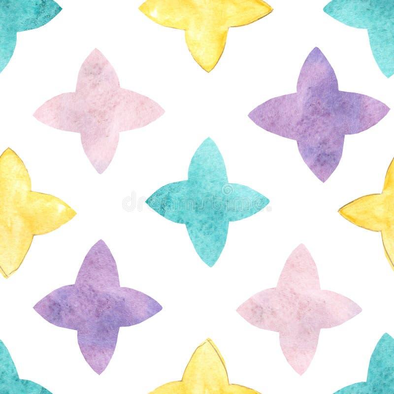 水彩星无缝的样式 印刷品的手拉的无缝的抽象背景在织品或包装纸 水彩星 皇族释放例证