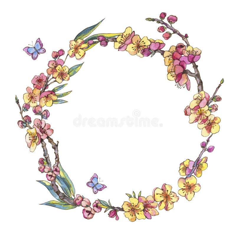 水彩春天圆的框架,与bloomi的葡萄酒花卉花圈 皇族释放例证
