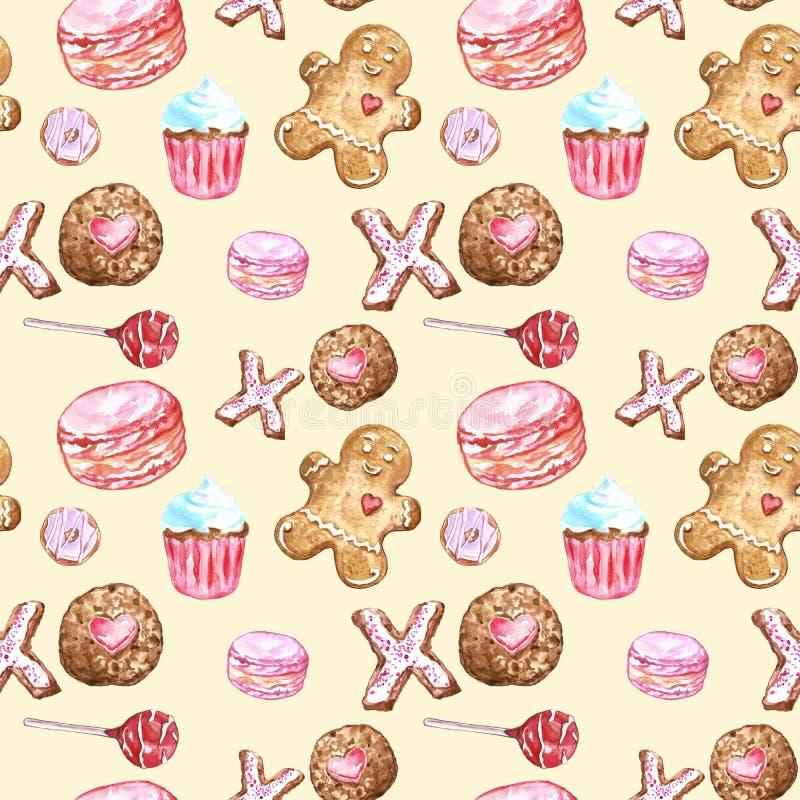 水彩曲奇饼,杯形蛋糕,棒棒糖,macaron,在温暖的黄色背景的姜饼无缝的样式 向量例证