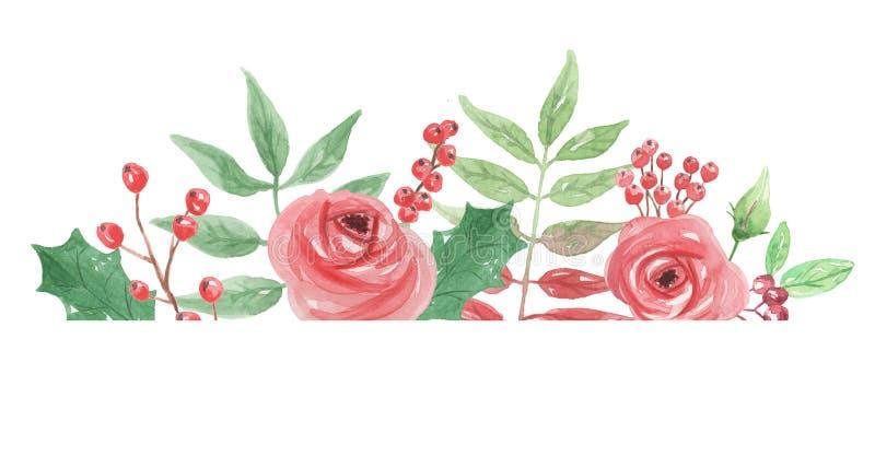 水彩曲拱红色和绿色叶子花卉冬天圣诞节边界 向量例证