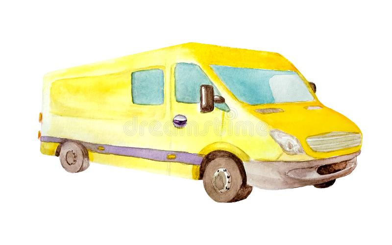 水彩有灰色轮子和一个窗口的黄色van truck在明信片的白色背景隔绝的后面,事务和 图库摄影