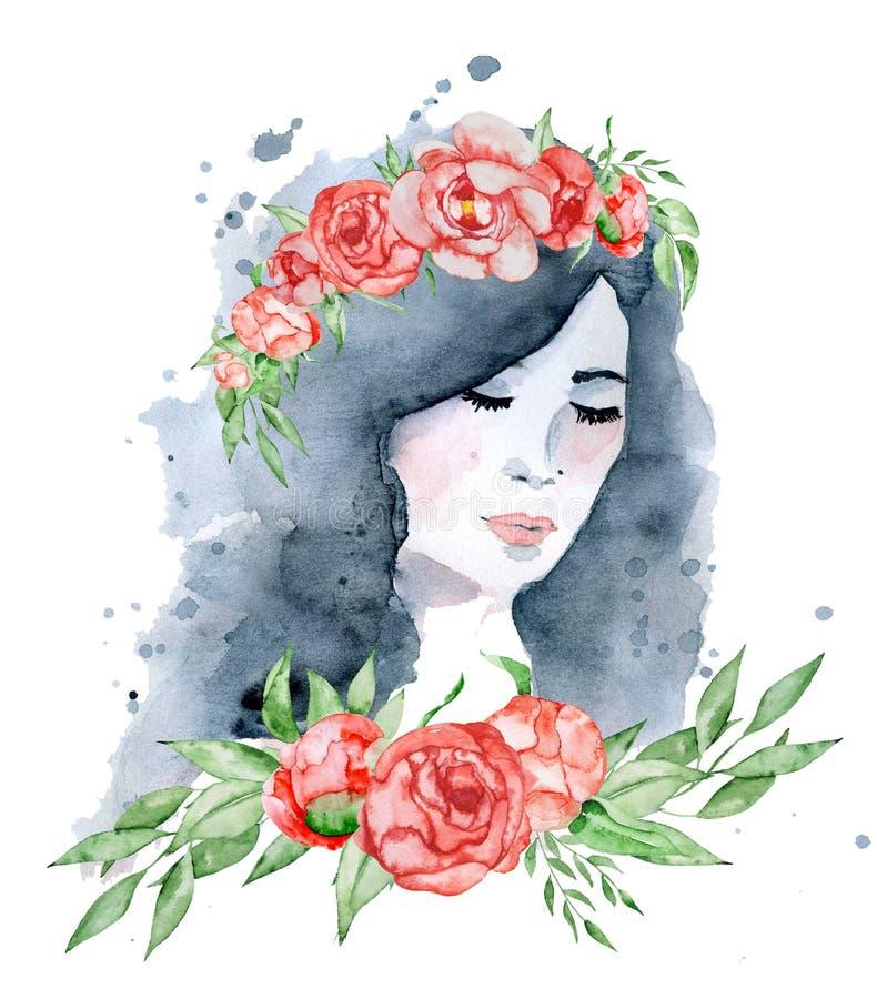 水彩有黑发和花卉花圈、红色和靛蓝牡丹的秀丽女孩开花 库存例证