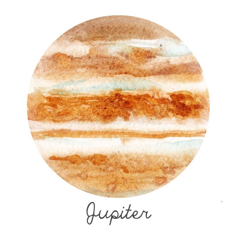水彩木星行星例证 库存例证