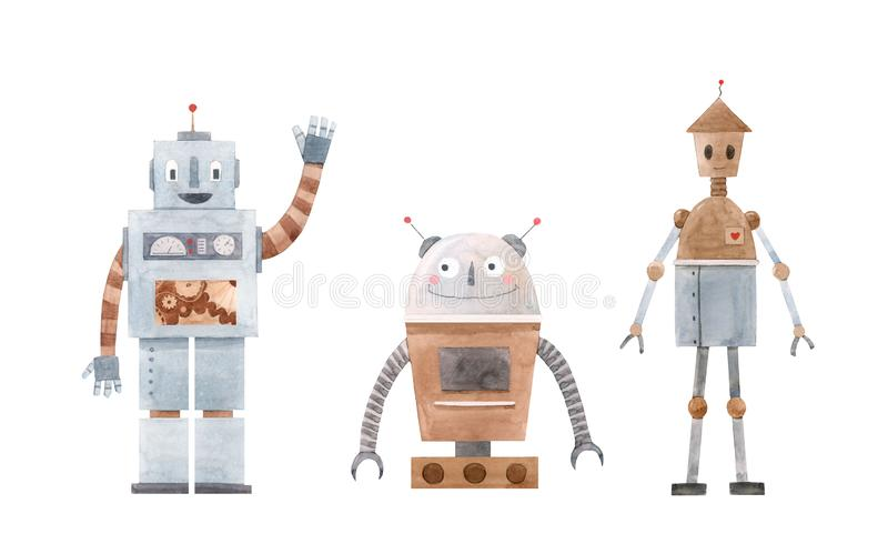 水彩机器人集合 库存例证