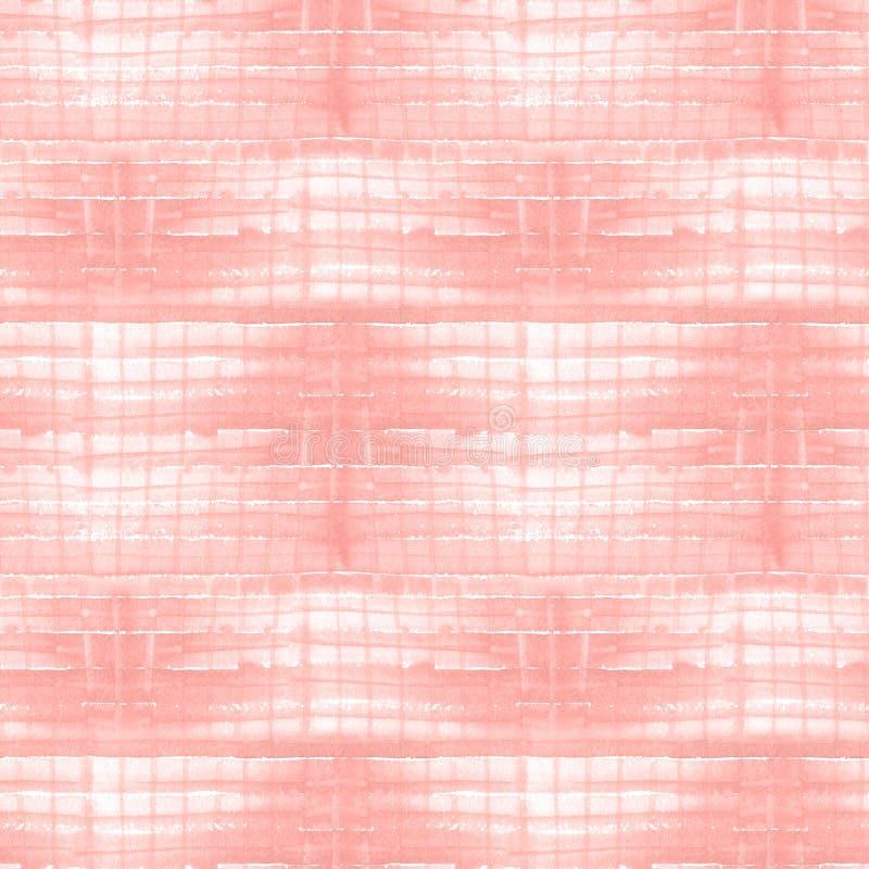 水彩条纹 方格的无缝的样式 桃红色格子花呢披肩织品纹理 皇族释放例证