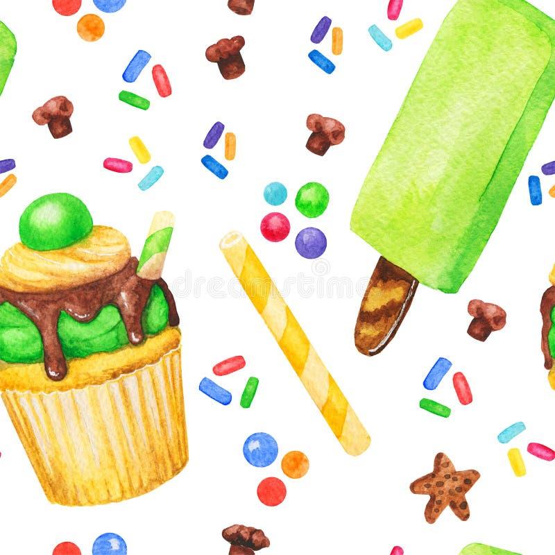 水彩杯形蛋糕、甜点和冰淇凌无缝的样式,在白色背景隔绝的神仙的蛋糕 甜可口手拉的b 向量例证