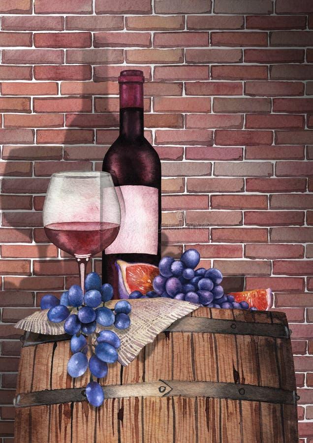 水彩杯红葡萄酒、瓶、葡萄和无花果在木桶 向量例证
