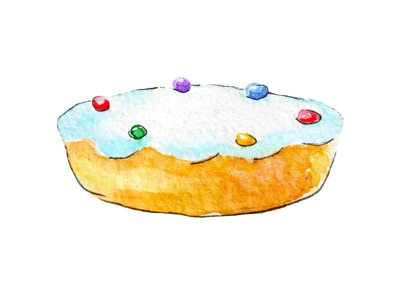 水彩松糕饼饼干给与多彩多姿的球粉末的上面上釉在为例证隔绝的白色背景的 库存例证