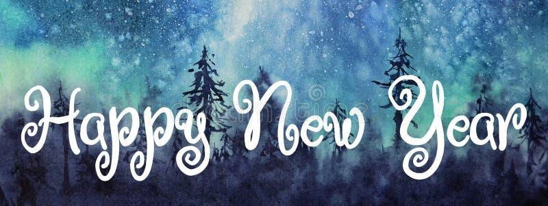 水彩极光 新年快乐祝贺贺卡 库存例证