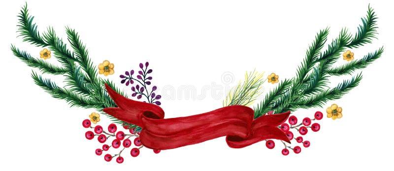 水彩树胶水彩画颜料葡萄酒减速火箭的手画圣诞节花圈框架装饰杉树分支和红色丝带为冬天 皇族释放例证