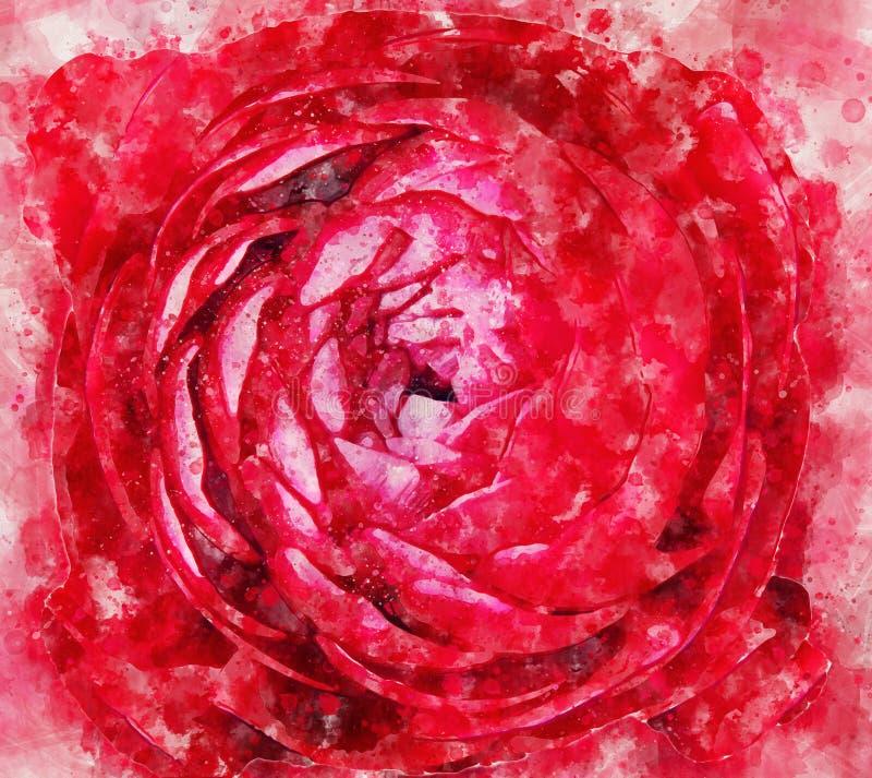 水彩样式和红色玫瑰的抽象图象 库存例证