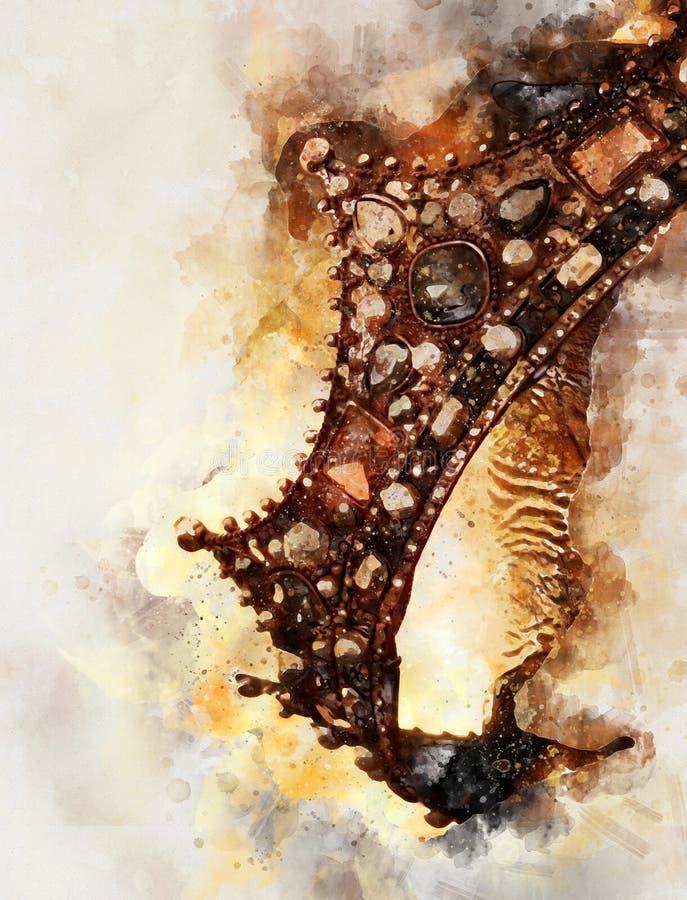 水彩样式和美丽的女王/王后/国王的抽象图象加冠 幻想中世纪期间 向量例证