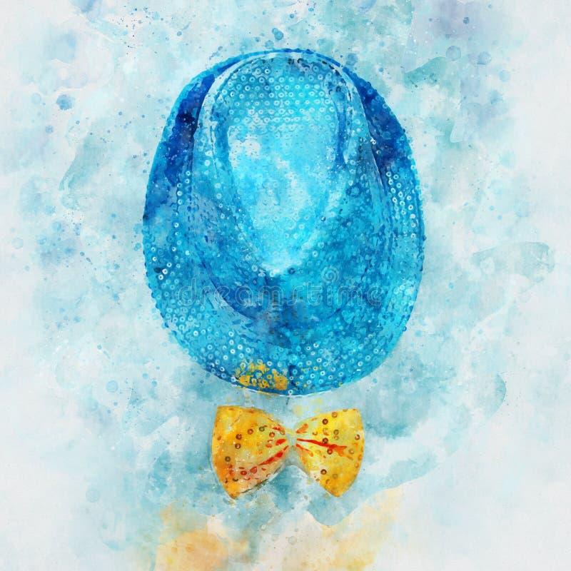 水彩样式和蓝色发光的闪光金属片的党帽子的抽象图象在黄色弓旁边的 免版税库存照片