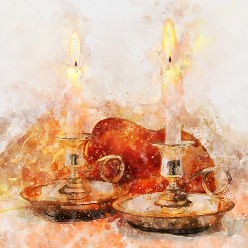 水彩样式和shabbat的抽象图象 鸡蛋面包面包和蜡烛在桌上 免版税图库摄影