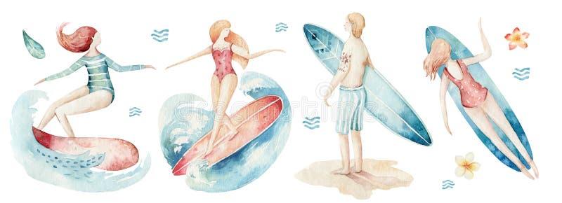 水彩样式套海浪男人和女子与波浪的冲浪者剪影 海洋冲浪的夏天活动设计隔绝了 向量例证