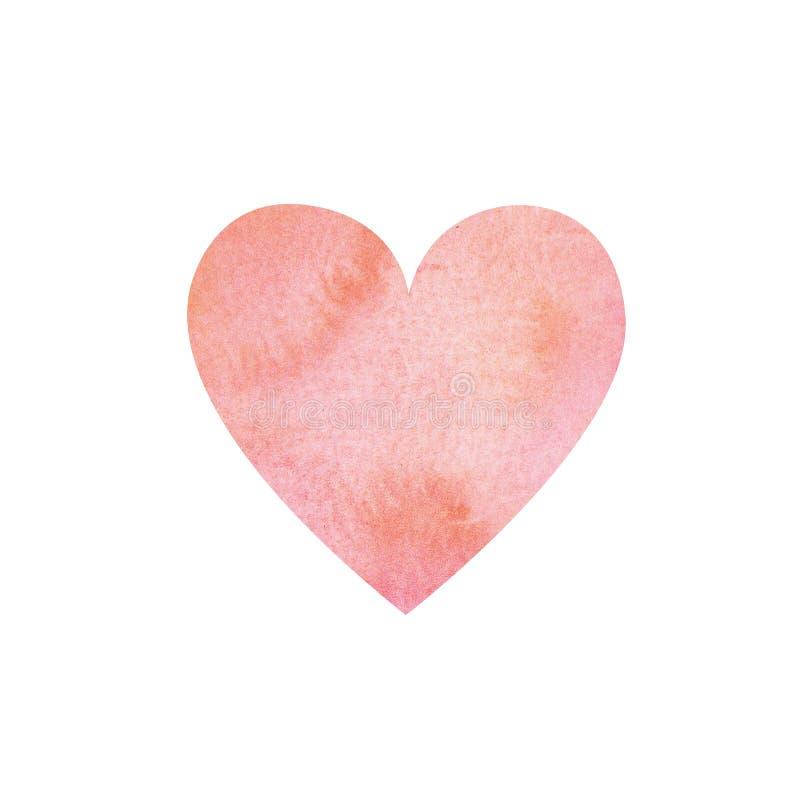 水彩桃红色和珊瑚颜色心脏背景 向量例证