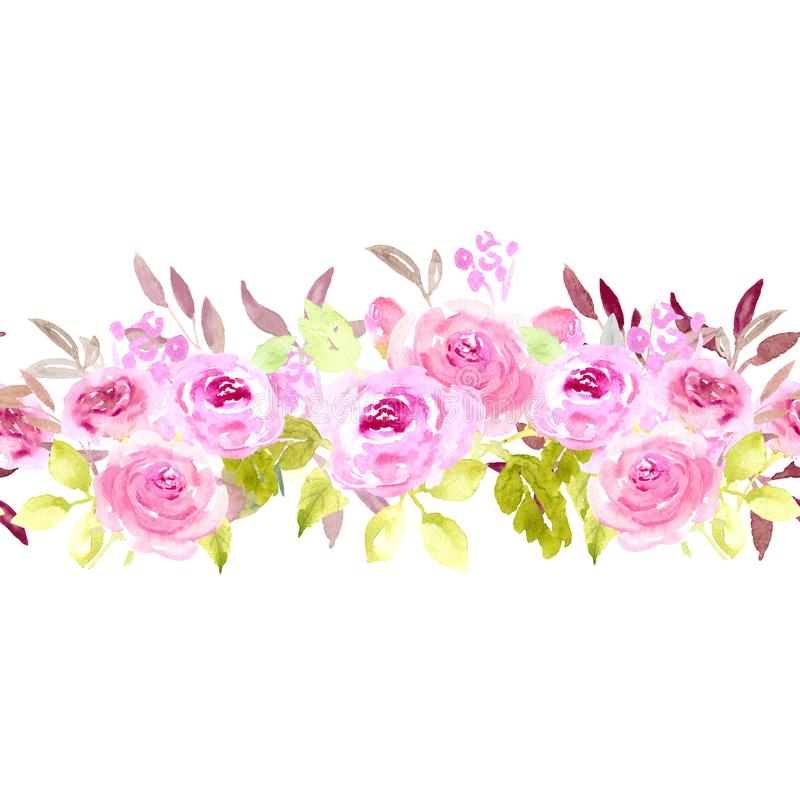 水彩桃红色玫瑰无缝的边界 库存图片