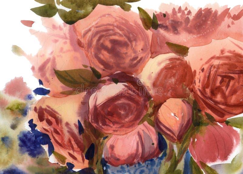 水彩桃红色玫瑰背景 库存例证