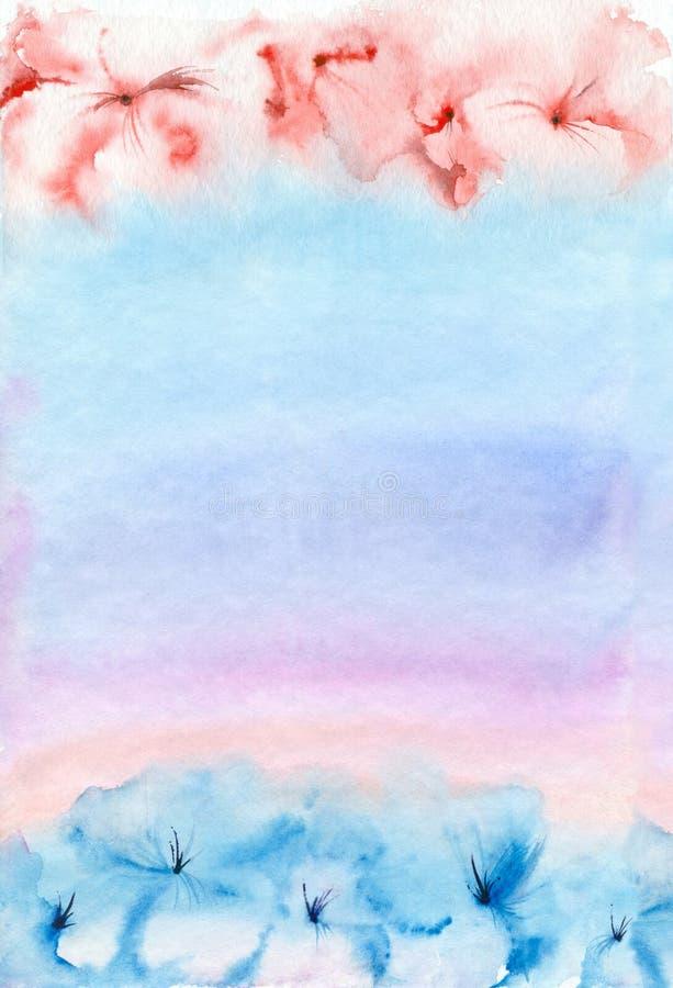 水彩桃红色蓝色背景 皇族释放例证