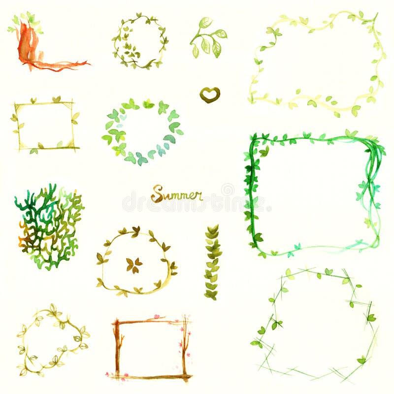水彩框架遏制五颜六色的充满活力的甜夏天绿色分支叶子花在一张轻的纹理纸用手掠过隔绝 库存例证