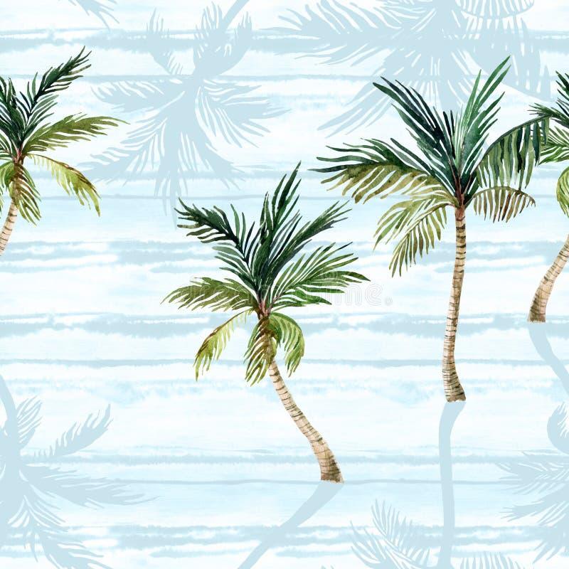 水彩棕榈树,在简单的镶边背景的织地不很细阴影 库存例证