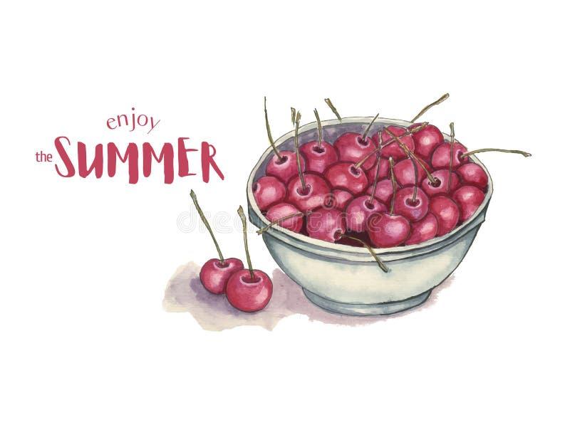 水彩樱桃与印刷术的夏天海报 免版税库存照片
