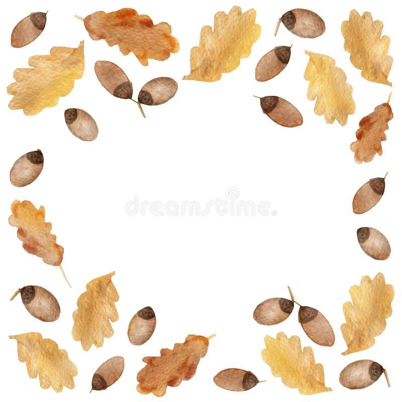 水彩橡木分支秋天框架与叶子和橡子的 皇族释放例证