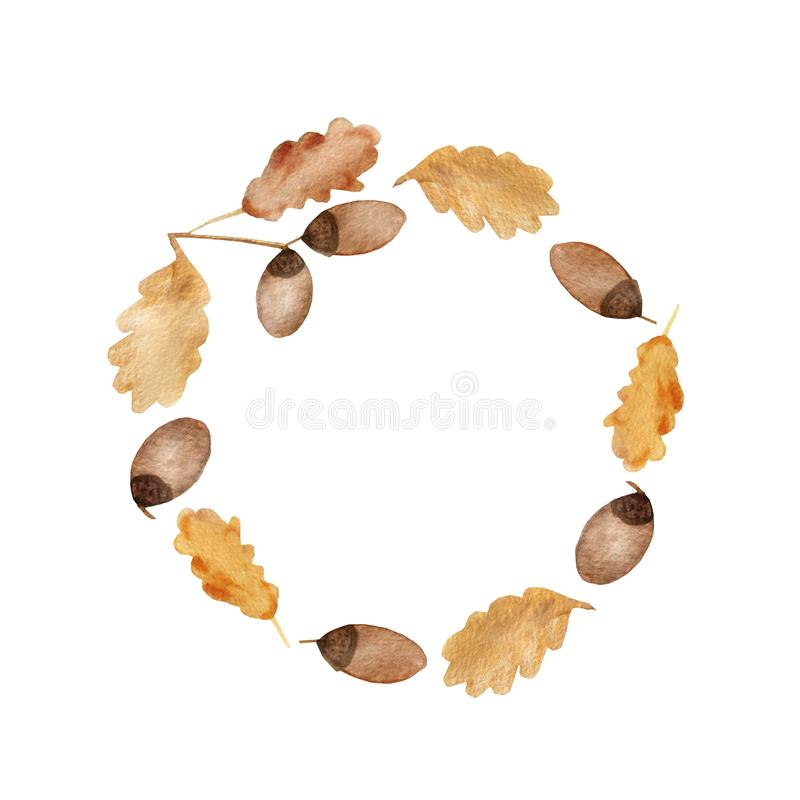 水彩橡木分支秋天框架与叶子和橡子的 库存例证