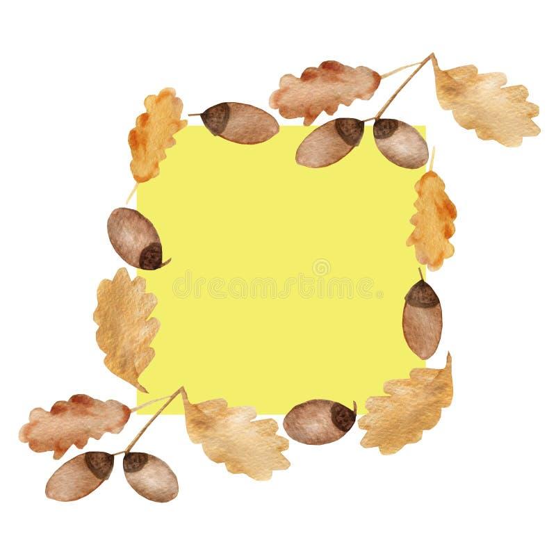 水彩橡木分支秋天框架与叶子和橡子的 向量例证