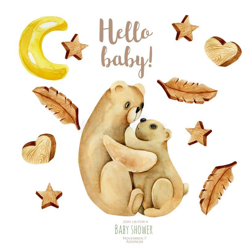 水彩母亲熊和婴孩、木星、心脏和羽毛例证 向量例证