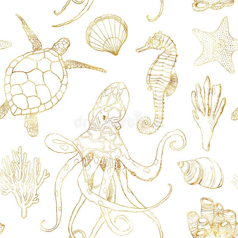 水彩水中无缝的样式 手画金黄章鱼、乌龟、海象、昆布属植物、壳和珊瑚礁 库存例证