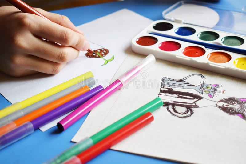 水彩油漆、标志和图画 库存图片