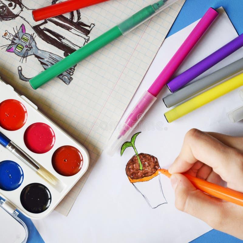 水彩油漆、标志和图画 库存照片