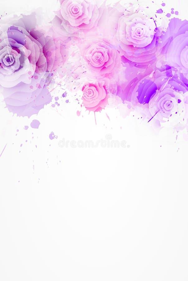 水彩油漆与玫瑰的飞溅背景 库存例证