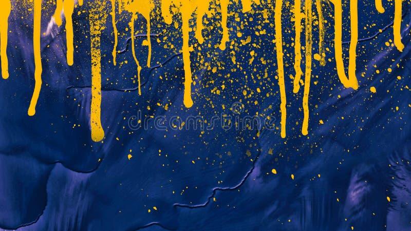 水彩泼溅物滴水 抽象绘画 在画布的油 木背景详细资料老纹理的视窗 免版税库存照片