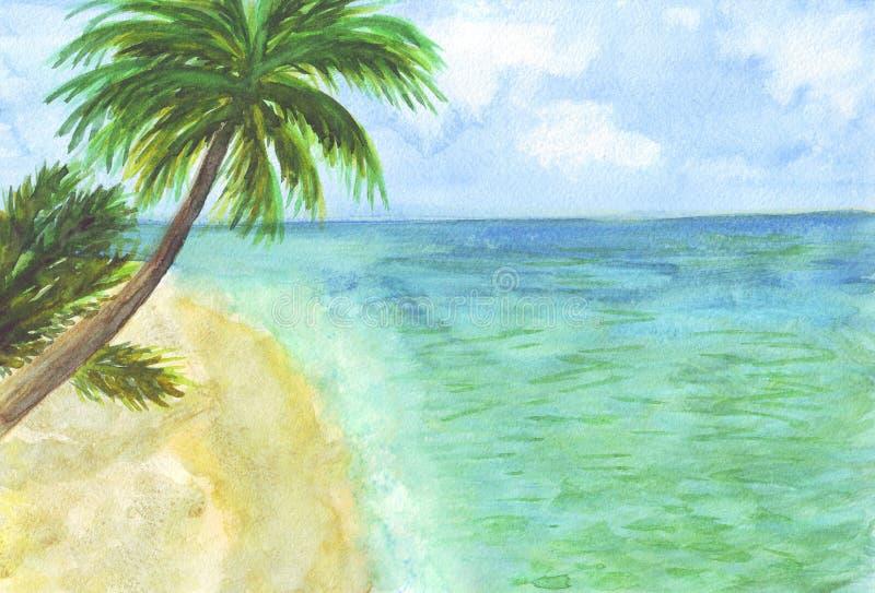 水彩海岛棕榈滩海 皇族释放例证