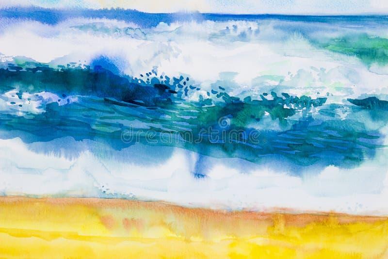 水彩海景绘五颜六色海视图,海滩,波浪 库存例证