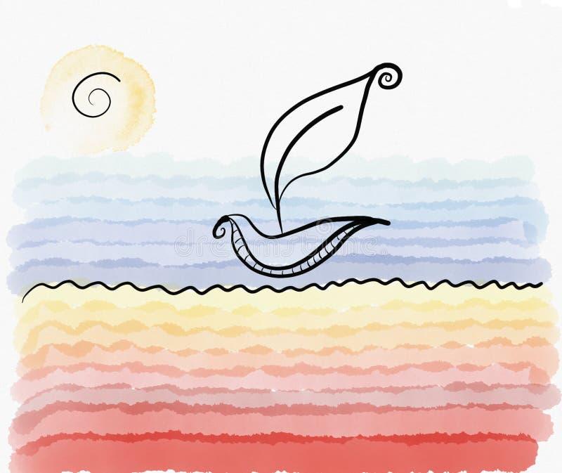 水彩海滩叶子小船夏天卡片 库存例证