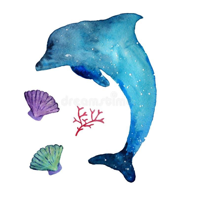 水彩海豚和海居民,隔绝在白色背景 皇族释放例证