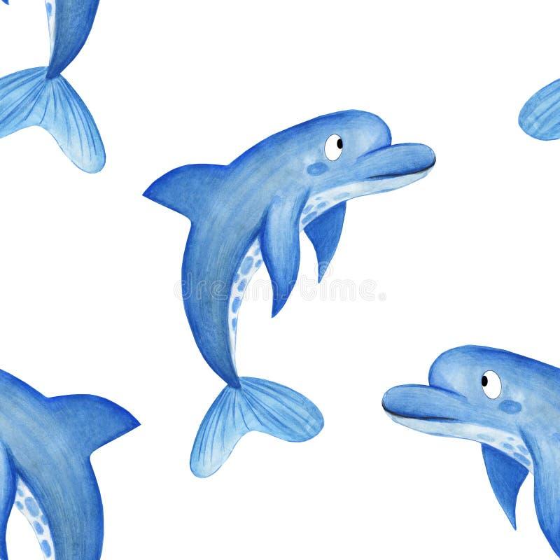 水彩海豚样式 在白色背景的手拉的动画片背景设计海豚 儿童的纸的背景,fa 皇族释放例证