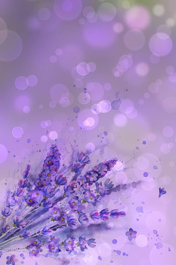 水彩淡紫色花束 淡紫色花,水彩在紫色背景飞溅与bokeh作用 库存例证